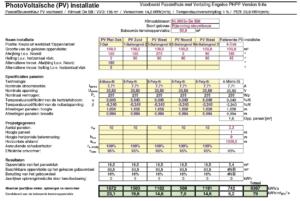 photovoltsche installatie tabel